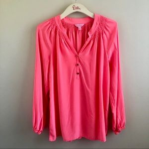 """Lilly Pulitzer Elsa Silk Blouse """"Hilight Coral"""""""